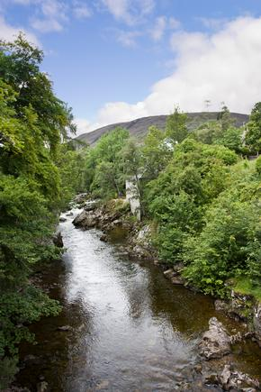 View of the river Dee in the Scottish Highland town of Braemar near Balmoral Castle