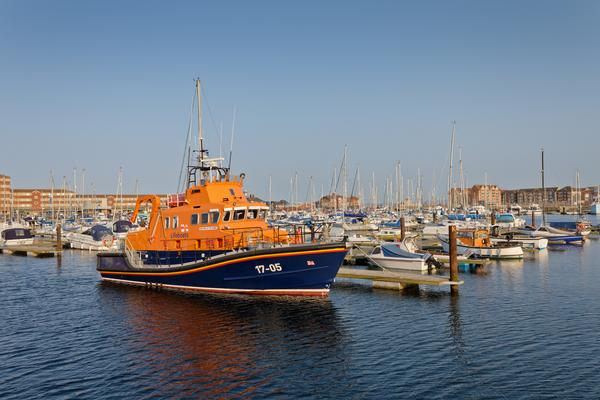 A Royal National Lifeboat Institution Lifeboat in the marina at Hartlepool, England.