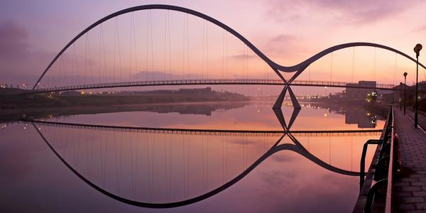Infinity Bridge in Stockton-on-Tees across the river Tees at sunrise