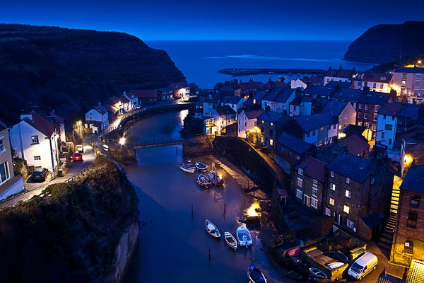 Staithes from above, at night.