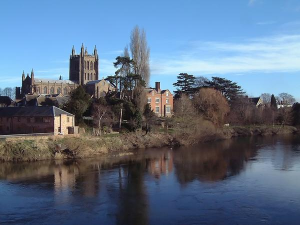 View of Hereford from the Old Bridge, showing Hereford Cathedral and the River Wye
