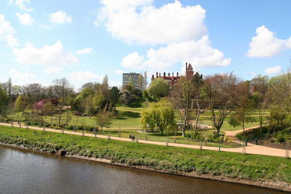 Miller Park on the banks of the River Ribble in Preston, Greater Manchester