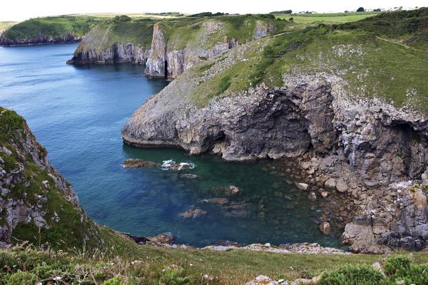 Rocky coastline in Pembrokeshire South Wales with headlands