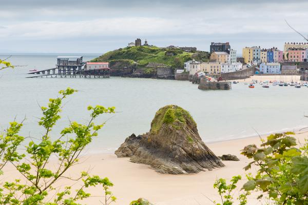 View of Tenby in Pembrokeshire including the beach and the sea