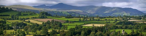 Panorama of Brecon Beacons National Park Landscape in Powys