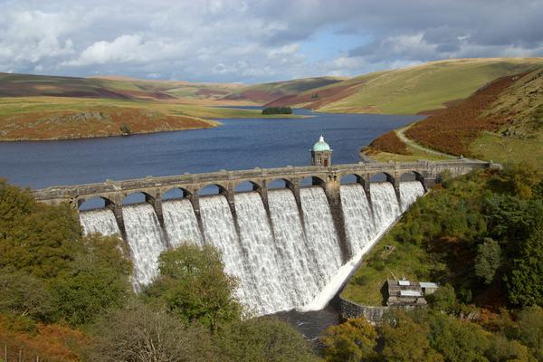 Craig Goch reservoir with water overflowing, Elan Valley, Wales