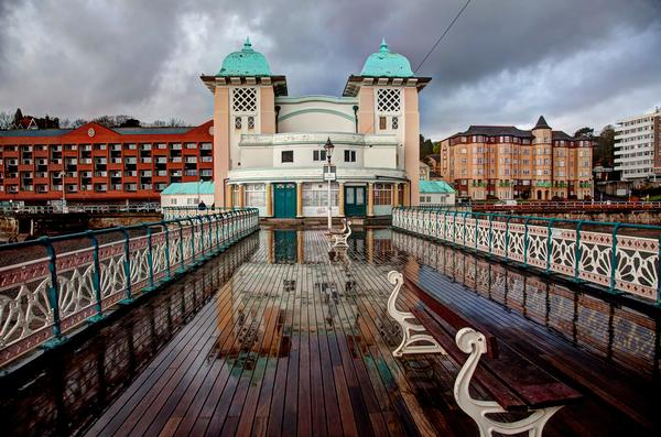 Penarth Pier and seafront after a heavy rain storm