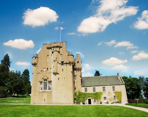 Crathes castle in Scotland in bright summer day