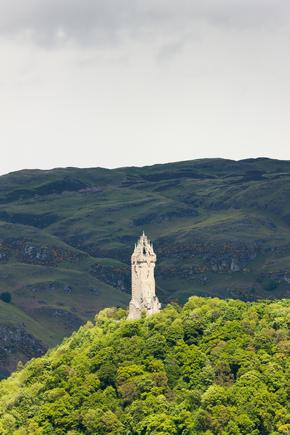 William Wallace Monument surrounded by trees