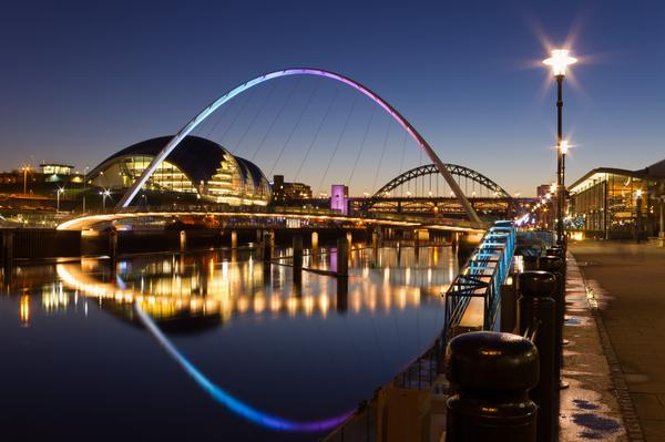 Colourful night view of Newcastle