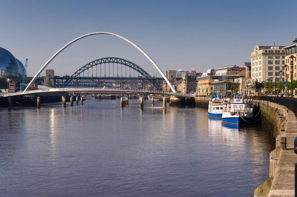 River Tyne showing its bridges, leisure boats and quayside