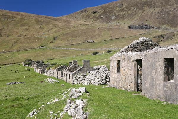 Ruins of houses in abandoned village, St Kilda