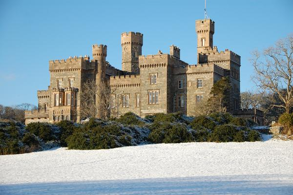 Lews Castle, Stornoway with snow in the foreground