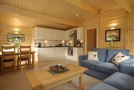 Lodge living room and kitchen