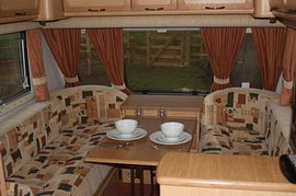 Southside Holiday Caravan - Seating Area which converts into double bed