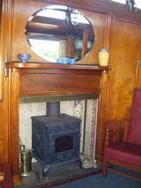 The wagon's fully functioning woodburner