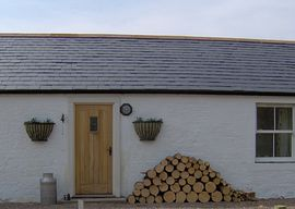 Dabbins Cottage - The front door and logs ready to use.