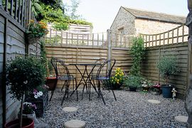 Private patio garden at Craigendale Cottage, Masham