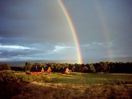 rainbow over Big Sky Lodges