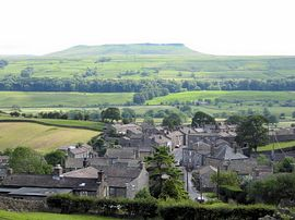 Looking over the rooftops of Askrigg towards Addleborough.
