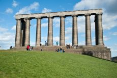 National Monument Edinburgh with pillars on hilltop