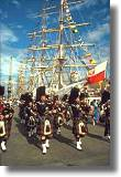 Tall ship with pipe band