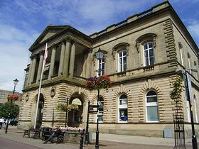Town Hall opened in 1858 in memory of Sir Robert Peel who was born in the area. © Stan Walker