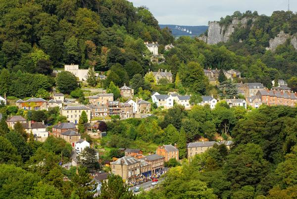 View over Asbourne in Derbyshire, with Matlock Bath Cable Cars in distance