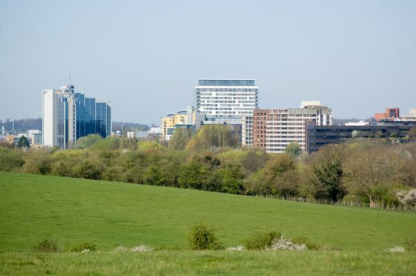 Looking from Basing Common towards the town centre of Basingstoke, Hampshire.