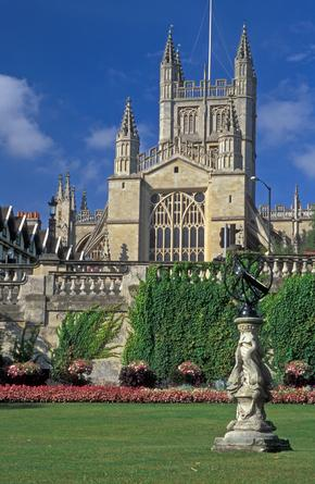 View of Bath Abbey from gardens