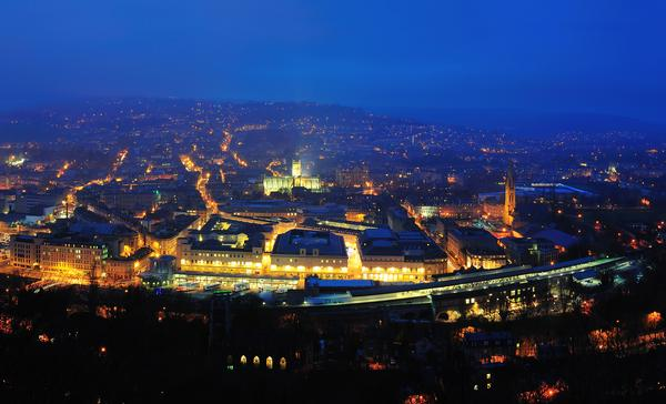An Aerial view of Bath at Night