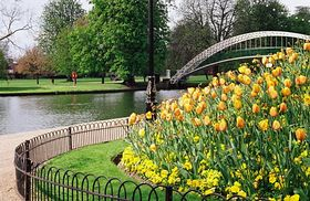 The embankment, Bedford in Spring © Julia Tiller