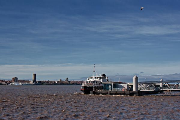 Ferry crossing the River Mersey, Liverpool, Merseyside