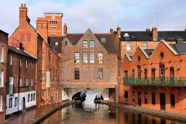 Canal and red brick buildings