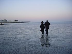 Walking on the sand low-tide early evening Bognor Regis © Gary Standen