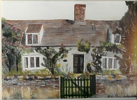 Painting of the Old Farmhouse in Boxted, Suffolk © Chris Livingston