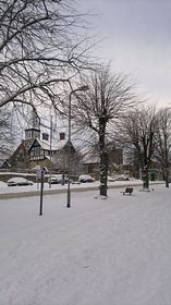 View of Brackley in the snow © Allana Barber