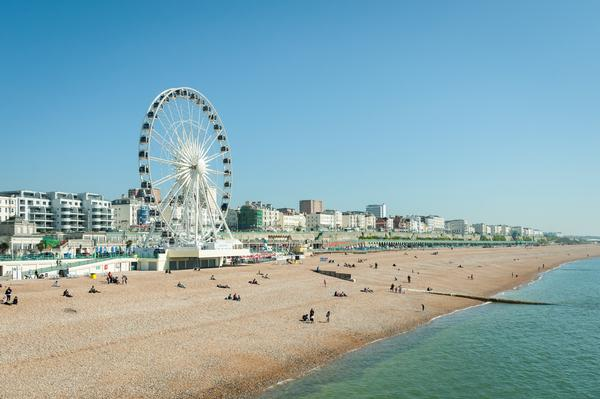 Brighton Beach and Madeira Drive on a bright sunny day