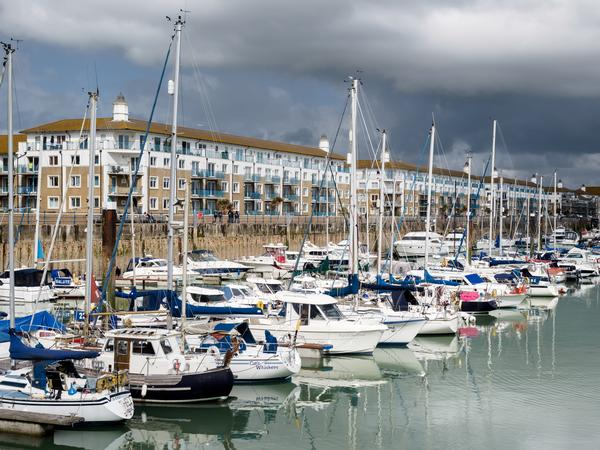 Brighton Marina on a cloudy day