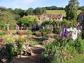 Gants Mill & Garden in Bruton.  The historic watermill overlooks the watergarden. © Alison Shingler