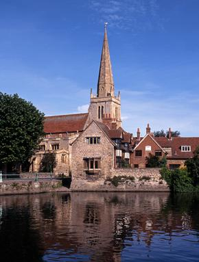 St. Helens Church, Abingdon with the Thames in front