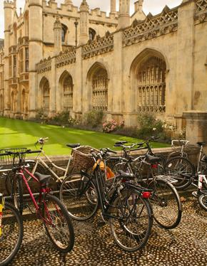 Bicycles parked outside college buildings