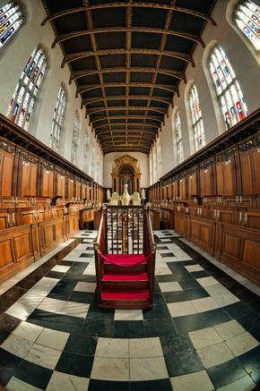 Fisheye view of interior of Trinity College Chapel