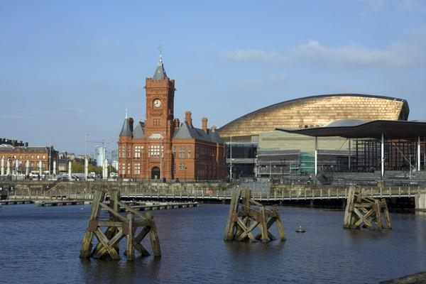 Cardiff Bay Millennium Centre showing its copper roof shining in the sunlight
