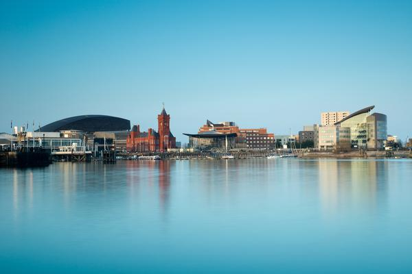 Distant view of Cardiff Bay across the water