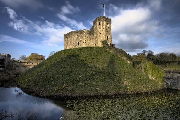 The Keep of Cardiff Castle on a grassy hill