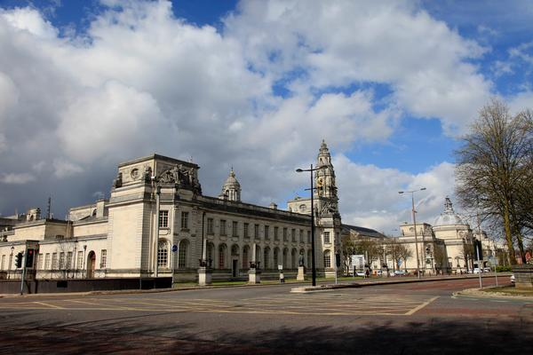 Exterior view of City Hall Buildings in Cardiff