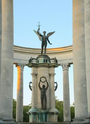 Cardiff War Memorial showing winged figure on a pillar holding a sword