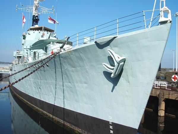 Closeup of Naval Destroyer in Chatham Dockyard