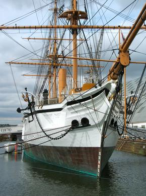 HMS Gannet sailing ship in Chatham Dockyard